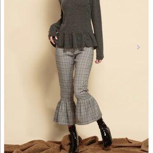 Luca Couture black glen plaid crop pants, NWT